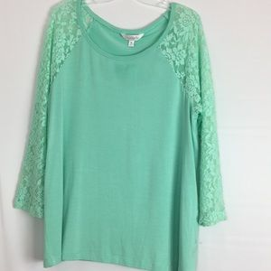 Charming Charlie Mint Lace Top